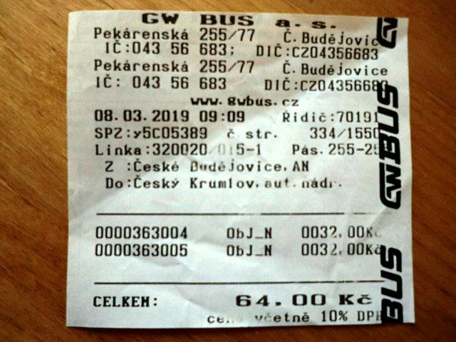 チェスキー・クルムロフ行きのバス切符