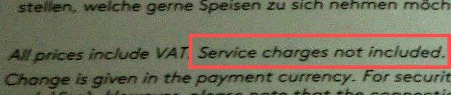 サービスは含まれていないの表示